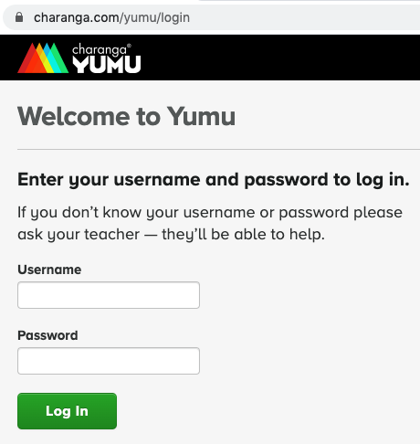Yumu login form