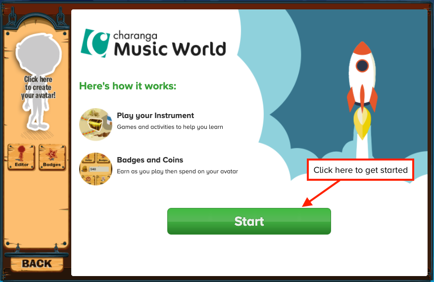 Music World welcome screen